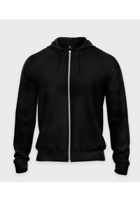 MegaKoszulki - Bluza rozpinana (bez nadruku, gładka) - czarna. Kolor: czarny. Materiał: materiał. Wzór: gładki
