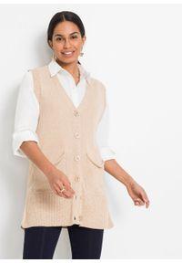 Długi sweter rozpinany bez rękawów, z poliestru z recyklingu bonprix latte macchiato melanż. Kolor: brązowy. Materiał: poliester. Długość rękawa: bez rękawów. Długość: długie. Wzór: melanż