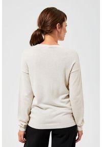 Złoty sweter MOODO z długim rękawem, klasyczny, długi