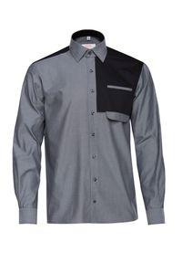 Czarna koszula casual VEVA w kolorowe wzory, z klasycznym kołnierzykiem
