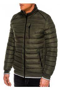 Zielona kurtka Ombre Clothing ze stójką, na zimę