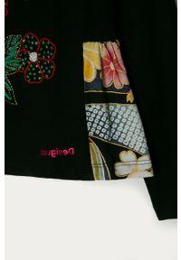 Czarna bluzka z długim rękawem Desigual z haftami