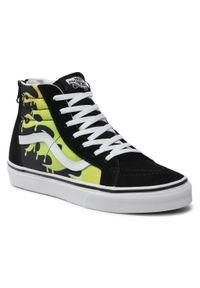 Vans - Sneakersy VANS - Sk8-Hi Zip VN0A4UI431M1M (Slime Flame) Blk/Tr Wht. Kolor: czarny. Materiał: zamsz, materiał. Szerokość cholewki: normalna