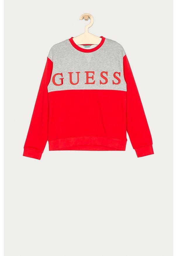 Czerwona bluza Guess Jeans z aplikacjami, bez kaptura