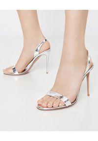 AQUAZZURA - Srebrne sandały na szpilce So Nude. Zapięcie: pasek. Kolor: srebrny. Wzór: paski. Obcas: na szpilce. Wysokość obcasa: średni
