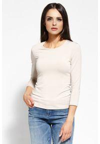 Dursi - Beżowa Bluzka z Wycięciem na Plecach. Kolor: beżowy. Materiał: wiskoza, elastan