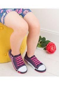 UNDERLINE - Trampki dziecięce Underline 8C181103 Granat-Róż. Zapięcie: bez zapięcia. Kolor: różowy. Materiał: skóra, tkanina, guma