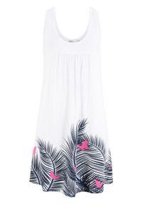 Sukienka z dżerseju z nadrukiem, bez rękawów bonprix biały w roślinny wzór. Kolor: biały. Materiał: jersey. Długość rękawa: bez rękawów. Wzór: nadruk