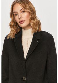 Czarny płaszcz Calvin Klein na co dzień, casualowy, bez kaptura