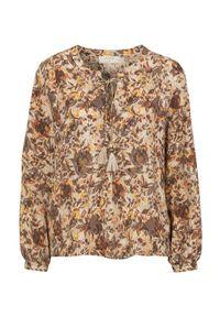 Bluzka Cream długa, z dekoltem w serek, elegancka, w kolorowe wzory