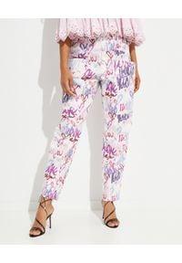 ISABEL MARANT - Spodnie z grafiką Enucie. Stan: podwyższony. Kolor: biały. Materiał: materiał. Długość: długie. Wzór: kolorowy, aplikacja
