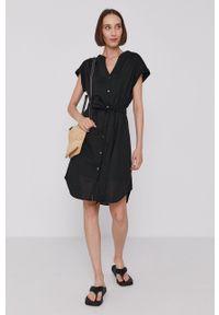 GAP - Sukienka. Kolor: czarny. Materiał: tkanina. Typ sukienki: rozkloszowane