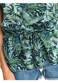 TOP SECRET - Top z tropikalnym printem z odkrytymi ramionami. Materiał: materiał. Długość rękawa: krótki rękaw. Długość: krótkie. Wzór: nadruk