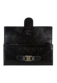 Wittchen - Damski portfel ze skóry z eleganckim zapięciem. Kolor: czarny. Materiał: skóra