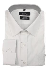Biała elegancka koszula Chiao długa, do pracy, z aplikacjami