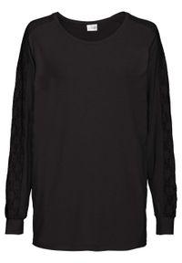 Czarna bluzka bonprix z okrągłym kołnierzem