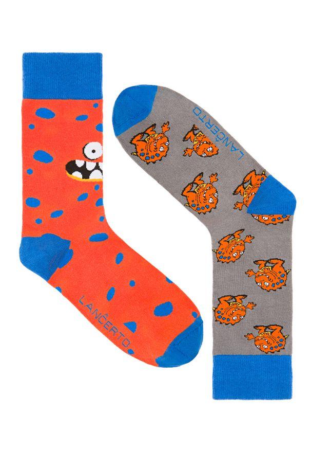 Pomarańczowe skarpetki Lancerto w kolorowe wzory