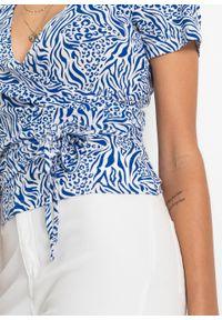 Shirt kopertowy LENZING™ ECOVERO™ bonprix lazurowy w paski zebry. Kolor: niebieski. Materiał: materiał. Długość rękawa: krótki rękaw. Długość: krótkie. Wzór: motyw zwierzęcy, paski