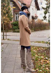 Marie Zélie - Płaszcz wełniany Debora beżowy – flausz. Kolor: beżowy. Materiał: wełna. Wzór: motyw zwierzęcy, ze splotem. Sezon: zima. Styl: klasyczny #6