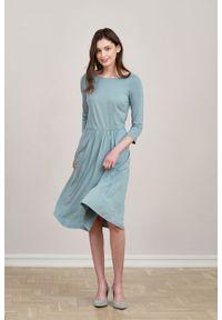 Marie Zélie - Sukienka Limosa jasnomiętowa mikromodal. Materiał: wiskoza, dzianina, elastan, włókno, skóra. Długość: midi