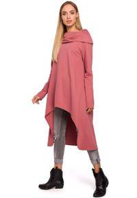 Różowa sukienka dzianinowa MOE z asymetrycznym kołnierzem, asymetryczna