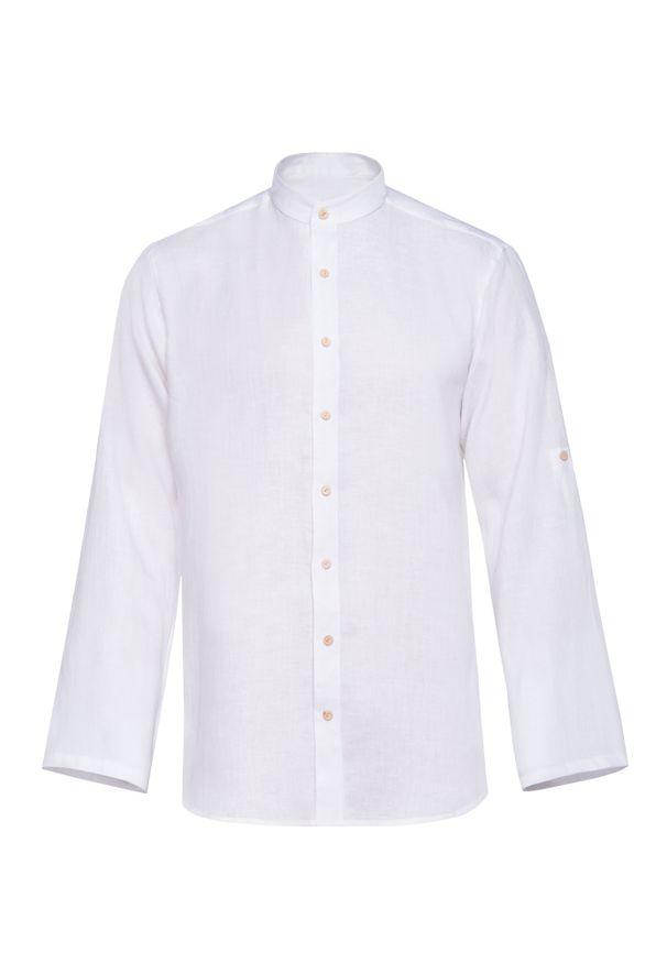 Biała koszula casual VEVA z dekoltem na plecach, z długim rękawem