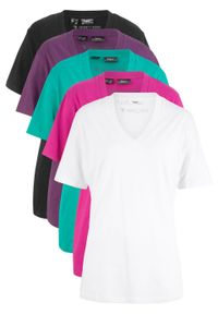Długi shirt z dekoltem w szpic (5 sztuk), krótki rękaw bonprix szmaragdowy + jagodowy + fuksja + biały + czarny. Kolor: zielony. Długość rękawa: krótki rękaw. Długość: krótkie