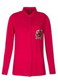 Czerwona koszula TOP SECRET na lato, z aplikacjami, długa