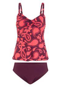 Fioletowy strój kąpielowy bonprix z nadrukiem, z wyjmowanymi miseczkami