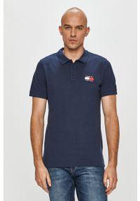 Niebieska koszulka polo Tommy Jeans polo, casualowa, krótka, na co dzień