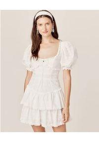 For Love & Lemons - FOR LOVE & LEMONS - Biała sukienka Iris. Typ kołnierza: kołnierz z falbankami. Kolor: biały. Materiał: bawełna. Wzór: haft. Długość: mini