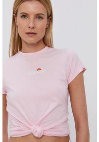 Ellesse - T-shirt bawełniany. Okazja: na co dzień. Kolor: różowy. Materiał: bawełna. Wzór: aplikacja. Styl: casual