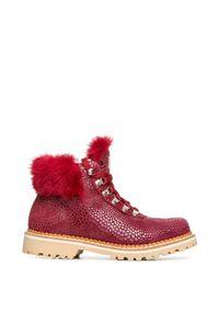 Czerwone buty zimowe Montelliana z nadrukiem, z cholewką