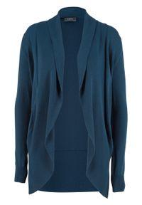 Sweter bez zapięcia, długi rękaw bonprix ciemnoniebieski. Kolor: niebieski. Długość rękawa: długi rękaw. Długość: długie