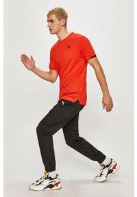 Czerwony t-shirt Puma casualowy, gładki, na co dzień