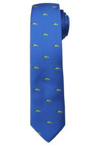 Błękitny Stylowy Krawat -Angelo di Monti- 6 cm, Męski, w Zielone Papugi, Motyw Zwierzęcy. Kolor: niebieski. Wzór: motyw zwierzęcy. Styl: elegancki