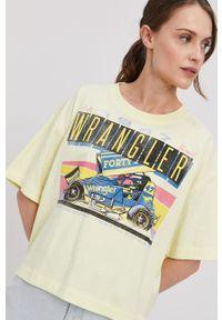 Żółta bluzka Wrangler z nadrukiem, na co dzień