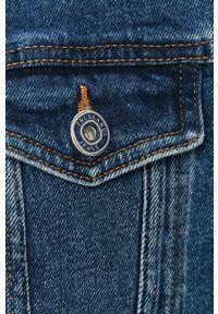 Niebieska kurtka Trussardi Jeans klasyczna, gładkie, bez kaptura, na co dzień