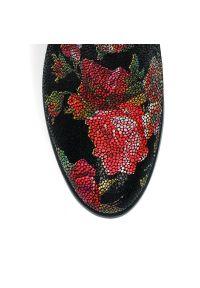 Czarny kozaki Arturo Vicci na wiosnę, w kwiaty, elegancki
