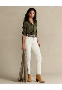 Ralph Lauren - RALPH LAUREN - Oliwkowa koszula Straight Fit. Typ kołnierza: polo. Kolor: zielony. Materiał: jedwab. Długość rękawa: długi rękaw. Długość: długie
