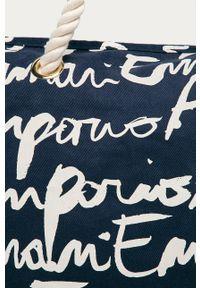 Niebieska torba plażowa Emporio Armani duża, na ramię