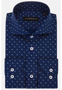 Lancerto - Koszula Granatowa z Nadrukiem Vinnie. Typ kołnierza: kołnierzyk włoski. Kolor: niebieski. Materiał: jeans, bawełna, wełna, tkanina, włókno. Wzór: nadruk