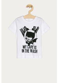 Biały t-shirt Name it na co dzień, z nadrukiem