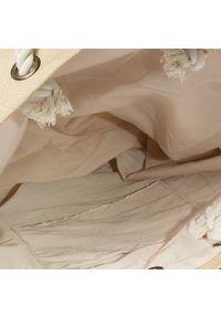 Beżowa torba plażowa Roxy klasyczna, w kolorowe wzory