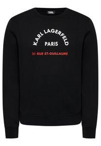 Karl Lagerfeld - KARL LAGERFELD Bluza Crewneck 705070 511900 Czarny Regular Fit. Typ kołnierza: dekolt w karo. Kolor: czarny