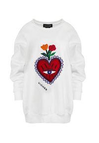 VICHER - Biała bluza REBELL HEART. Kolor: biały. Wzór: haft. Styl: klasyczny