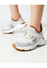 TOD'S - Szare sneakersy damskie. Kolor: szary. Materiał: tkanina, guma. Wzór: ze splotem