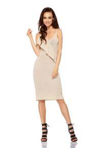 Lemoniade - Beżowa Sukienka Swetrowa na Cienkich Ramiączkach. Kolor: beżowy. Materiał: bawełna, akryl. Długość rękawa: na ramiączkach