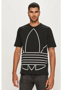Czarny t-shirt adidas Originals casualowy, z okrągłym kołnierzem, na co dzień, z nadrukiem