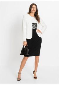 Czarna sukienka bonprix ołówkowa, elegancka, w koronkowe wzory
